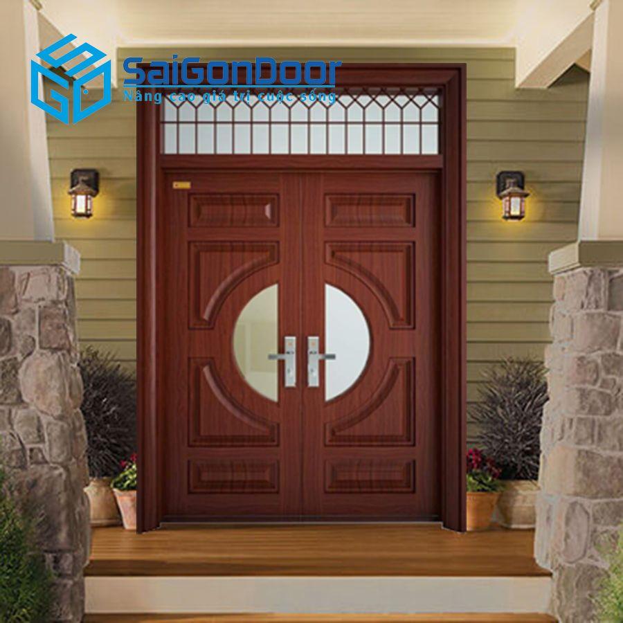Cửa thép giả gỗ 2 cánh cho cửa chính