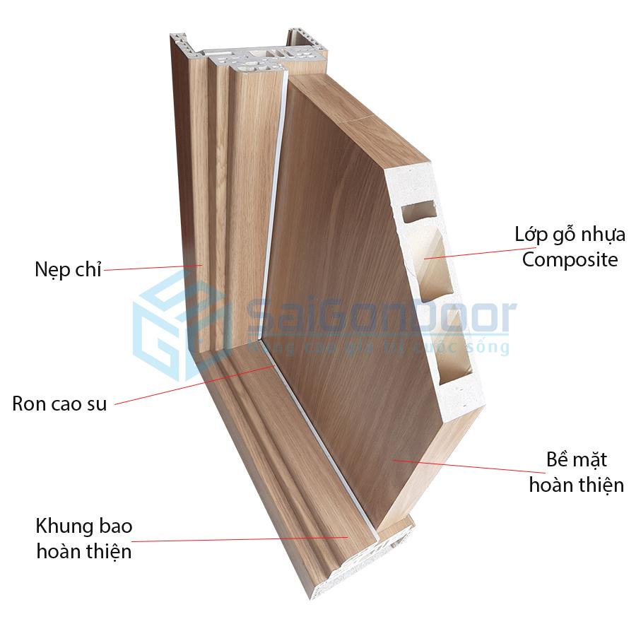 Cấu tạo cắt góc cửa nhựa gỗ cao cấp tại SaiGonDoor