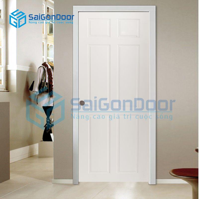 Cửa nhựa gỗ dùng cho phòng ngủ với màu trắng sáng đơn giản SYA.305-A05