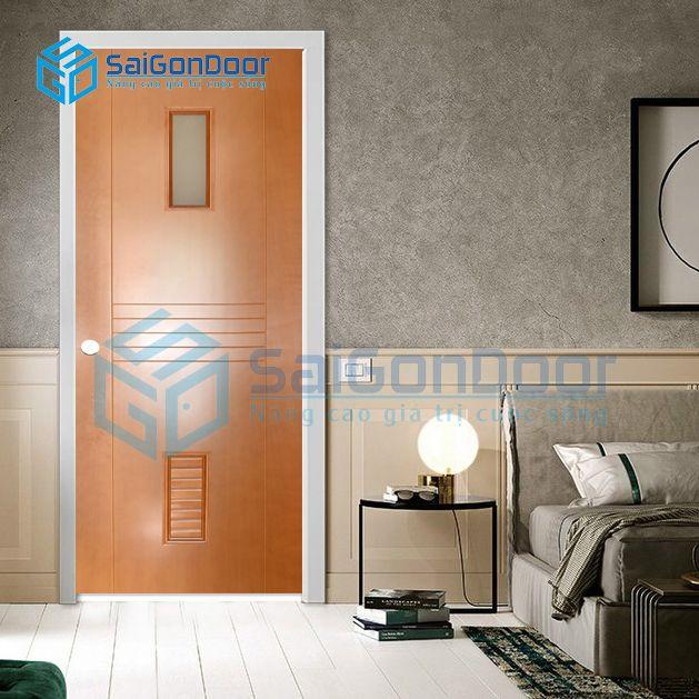 Cửa phòng khách cách âm thoáng mát kết hợp giữa ô kính và lá sách vừa hiện đại xen lẫn cổ điển SYA.356-A02